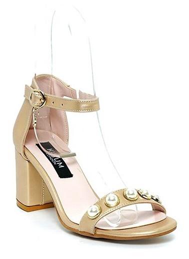 Kuum Kalın Topuklu Ayakkabı Altın